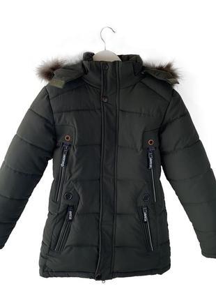 Зимняя куртка на овчине для мальчика 11-17 лет, размеры 40-46,...