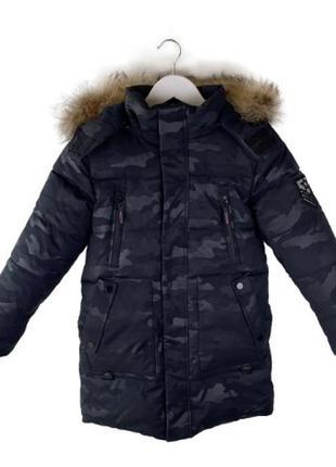 Камуфляжная зимняя куртка на мальчика 8-12 лет. размеры 128-15...