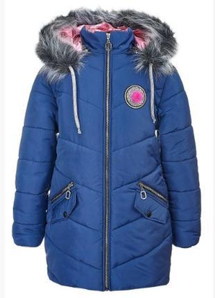Удлиненная зимняя куртка на девочку 10 -12 лет, размеры 152-15...