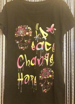 Черная футболка с черепами из цветов женская, девочка, подросток