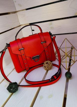Кожаная женская сумка красная. натуральная кожа