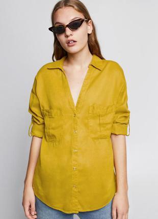 Zara джинсовая рубашка с v-образным вырезом