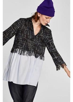 Zara комбинированная твидовая блуза-туника