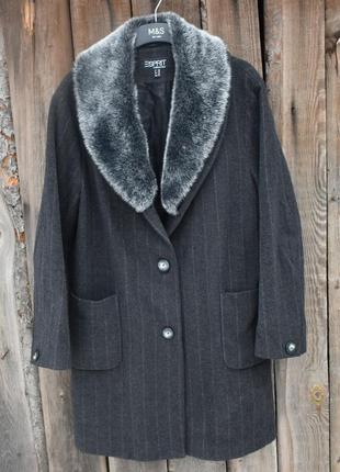 Esprit женское шерстяное пальто с мехом на воротнике классичес...