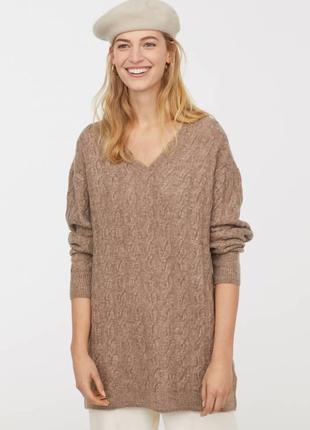 Oversize платье-туника вязки косами из мягкой пряжи с добавлен...