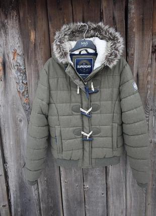 Superdry оригинал! женская куртка  хаки короткая с мехом разме...