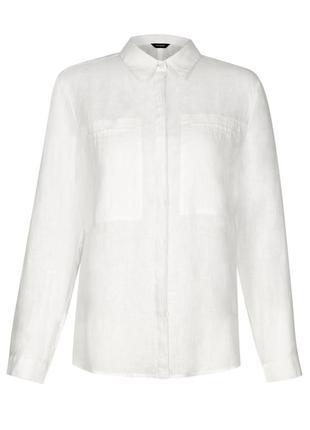 Базовая белая льняная рубашка р.16-18