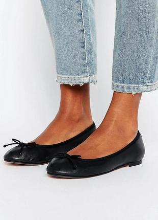 Натуральные кожаные туфли балетки асос asos