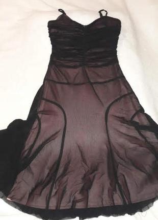 Платье-сарафан вечернее для девочки черное сетка с трикотажной...