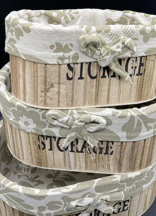 Ящик деревянный декоративный с тканью. 27х18х11см