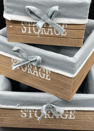 Деревянные ящики с тканью. 23х23х11см