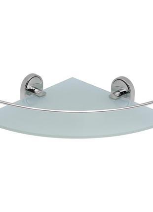 Полка в ванную комнату угловая стеклянная  однорядная. полочки...