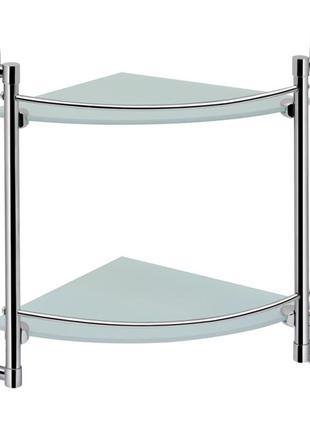 2-х ярусная полочка для ванной комнаты стеклянная угловая