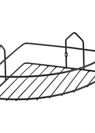 Угловая полка для ванной комнаты решетка одинарная черная матовая