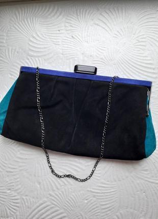 Сумка-клатч замшевый на цепочке винтаж