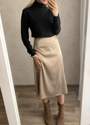 Роскошная атласная юбка миди