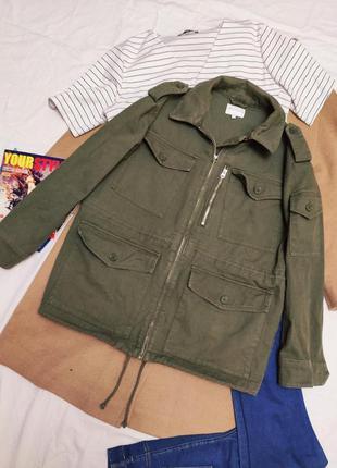 Куртка джинсовая парка мужская с карманами зелёная хаки warehouse