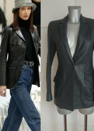 Трендовый кожаный жакет, куртка marks&spencer
