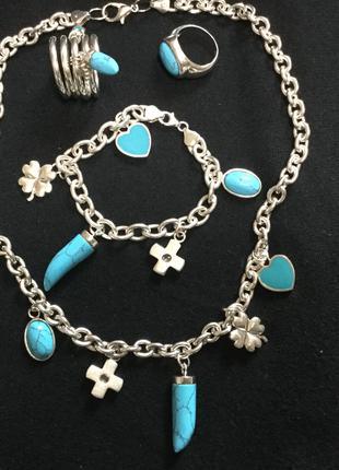 Комплект украшений из серебра с бирюзой