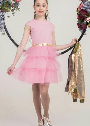 Стильный костюм для девочки подростка из бомбера и платья с фа...