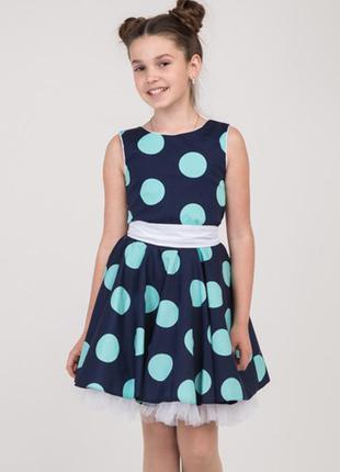 Платье котоновое на девочку в крупный горох размеры 128- 140