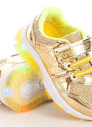 Модные кроссовки на девочку с подсветкой подошвы размеры 22- 25