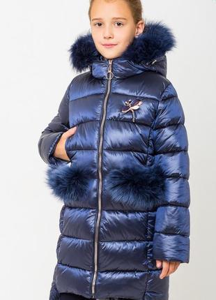 Модное зимнее пальто на девочку сабрина размеры 122- 164