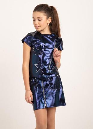 Стильный костюм из экокожи на девочек подростков
