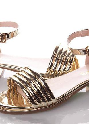 Модные летние босоножки на девочку подростка clibee-золото
