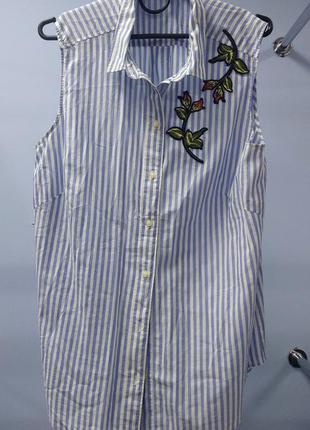 Удлинённая рубашка / блуза в полоску
