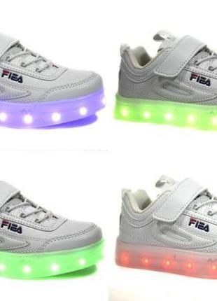 """Кроссовки белые led со светящейся подошвой тм """"bessky"""" 11 режи..."""