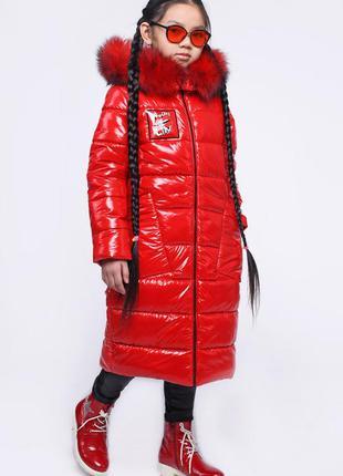Модная детская зимняя лаковая куртка для девочек тм x-woyz раз...
