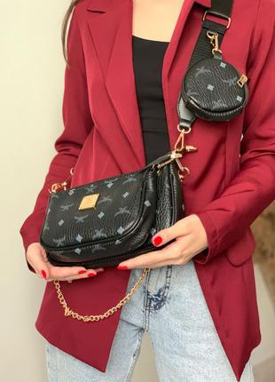 Стильная Женская сумка 3 в 1 ,коричневая сумочка через плечо