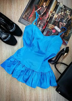 Новая голубая сексуальная корсетная блуза на тонких бретелях с...