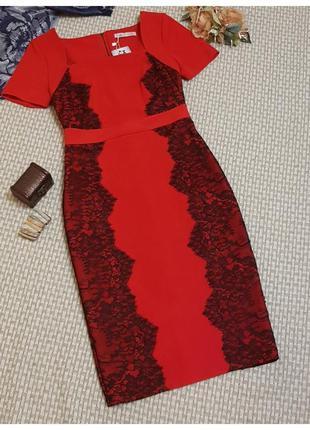 Красное платье с кружевом marks&spencer/платье футляр