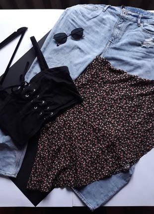 Распродажа по 100!🔥 стильная  мини юбка короткая юбочка в цветы.