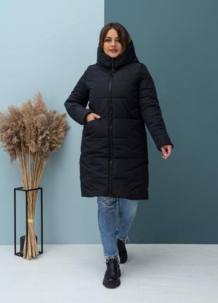 Удлиненная зимняя куртка черного цвета на силиконе