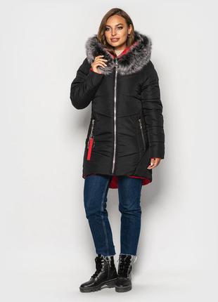 Зимняя куртка на силиконе мех натуральный песец  цвет черный