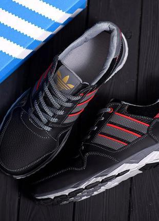 Мужские кожаные кроссовки Adidas Tech Flex Black