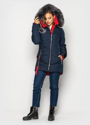 Зимняя куртка на силиконе мех натуральный песец цвет электрик ...