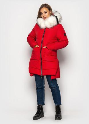 Зимняя куртка на силиконе красная