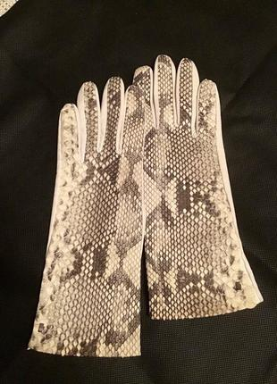 Перчатки roeckl, натуральная итальянская кожа, кожа питона