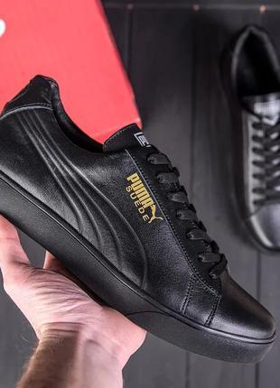 Мужские кожаные кроссовки Puma Smash Black