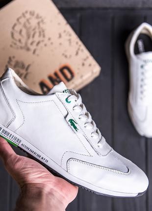 Мужские кожаные кроссовки Lacoste Lerond White