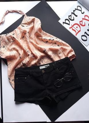 Шорты чёрные короткие джинсовые topshop w28