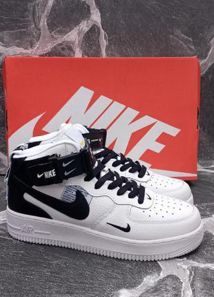 Мужские кроссовки nike air force кожаные.белые.хайтопы