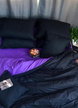 Полуторное однотонное постельное белье бязь премиум - черный с...