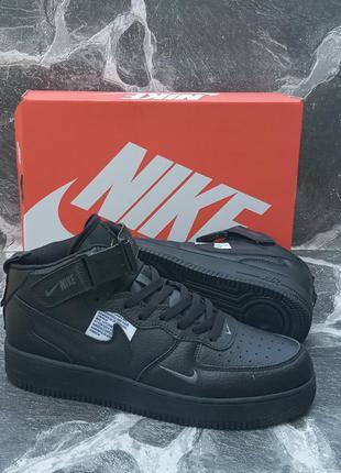Черные мужские кроссовки nike air force кожаные.хайтопы