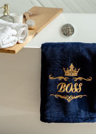 Велюровое банное полотенце с именной вышивкой, темно-синий