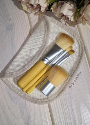 Кисти для макияжа набор эко бамбук 4 шт в текстильном чехле pr...